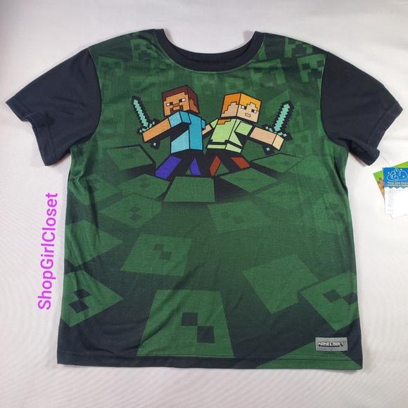 Minecraft Pajama Tee Boys sz 10/12 NWT